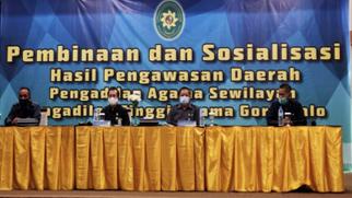 Satukan Visi, PTA Gorontalo Gelar Pembinaan & Sosialisasi Hasil Pengawasan Daerah PA Sewilayah PTA Gorontalo | (25/11)
